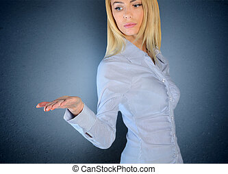 Woman holding nothing in open hand