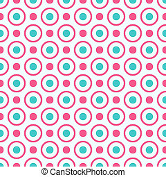 Seamless geometric pattern with bright pink and blue dots...