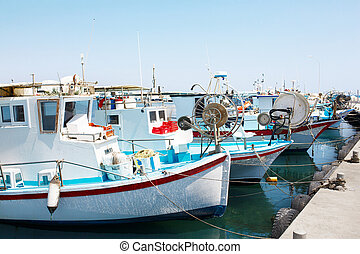 Yachts and fishing boats in Larnaca port, Cyprus