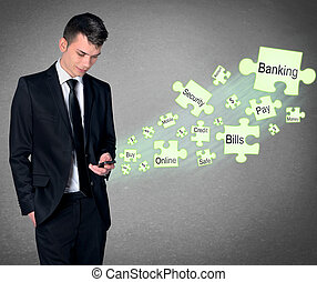 Mobile Banking concept - Business man with smartphone and...