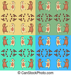 The dancing bear cubs. - Simple seamless pattern of...