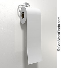Toilet Roll On Chrome Hanger - A roll of white toilet paper...
