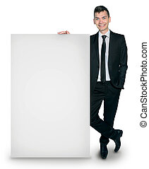 Isolated business man with board