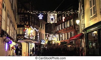 Christmas decorations in Strasbourg. France. Europe.