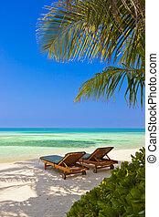 Loungers, playa, maldivas