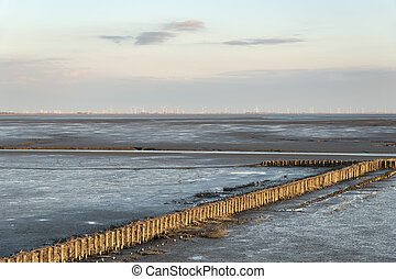 mudflat landscape - Image of mudflat landscape with wooden...