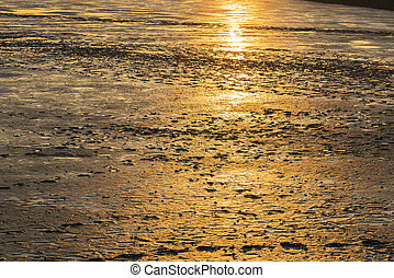 mudflat landscape at sunset - Image of mudflat landscape in...