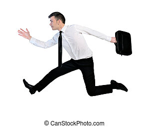 Business man running - Isolated business man with briefcase...