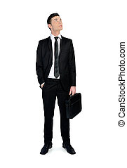 Business man looking up - Business man with briefcase...