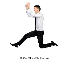 Business man jump - Isolated business man side jump