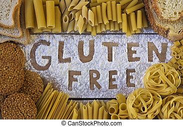 gluten, livre, palavra, com, madeira, fundo,