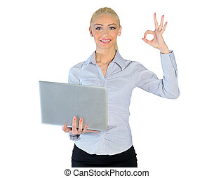 Business woman showing ok sign - Isolated business woman...