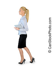 Business woman walking - Business woman with tablet walking