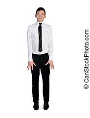 Nervous business man - isolated nervous business man on...