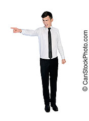 Business man angry - Isolated Business man angry pointing