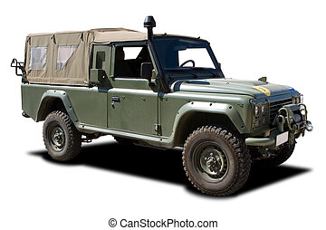 Military Vehicle - Green European Military Truck Isolated on...