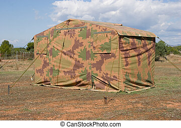 Military Tent - Camo Military Tent in a Open Field