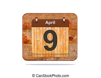 April 9. - Calendar with the date of April 9.