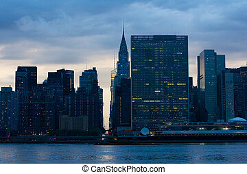 United Nations at Night - View of the Midtown Manhattan East...