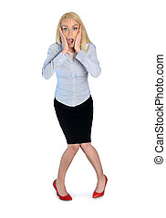 Business woman surprised - Isolated business woman very...