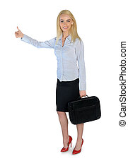 Business woman ok sign - Isolated business woman ok sign