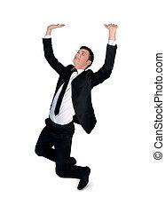 Business man push up something - Isolated business man push...