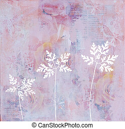 artwork background - collage painting with plant silhouettes...
