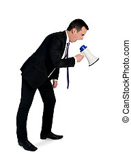Business man with megaphone - Isolated business man with...