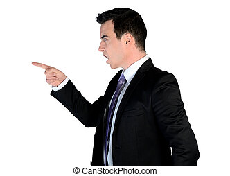 empresa / negocio, hombre, enojado, Señalar,