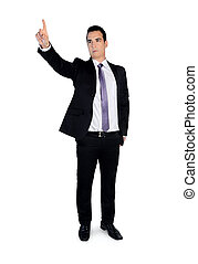 Business man press something - Isolated business man press...
