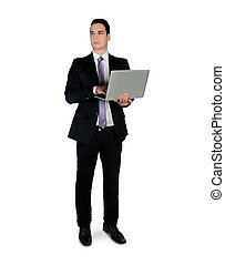 Business man - Isolated business man with laptop