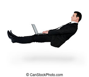 laptop, negócio, homem