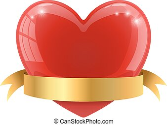 Red glossy heart with golden banner vector illustration