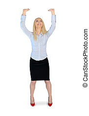 Business woman push something - Isolated business woman push...