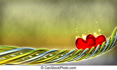 Motion background with red hearts and glitter particles - 3D...
