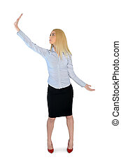 Business woman holding something up - Isolated business...