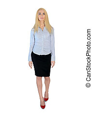 Business woman walking forward - Isolated business woman...