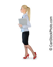 Business woman walking with laptop - Isolated business woman...
