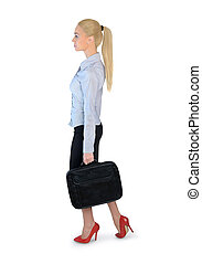 Business woman walking side - Isolated business woman...