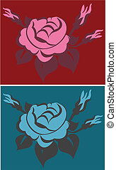 rose illustration in 2 colorway