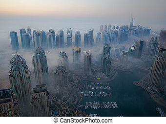 skyscraper foggy weather Dubai - aerial view skyscraper...