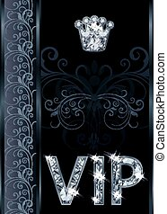 Diamond VIP invitation card, vector - Diamond VIP invitation...