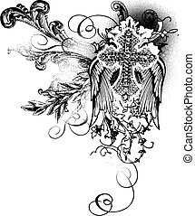 voando, crucifixos, Scroll, decoração