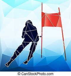 Downhill skier. Abstract vector geometric silhouette of...