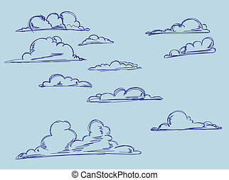 Hand-drawing clouds.