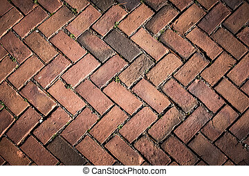 Brick Pavement Background - Picture of red brick pavers