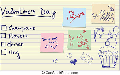 Love sticker and memo list - Hand-draw love sticker with...