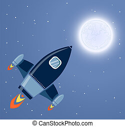 Rocket Space Ship, On Blue Background, Vector Illustration
