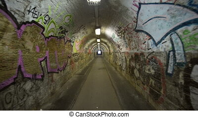 Urban underground tunnel with glidecam