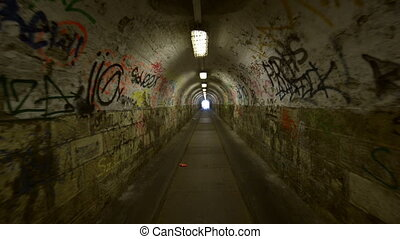Urban underground tunnel with glidecam - Urban underground...